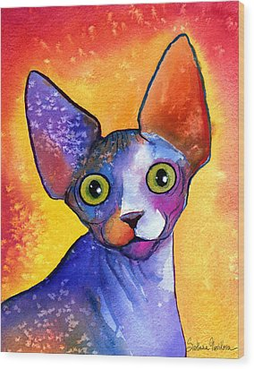 Whimsical Sphynx Cat Painting Wood Print