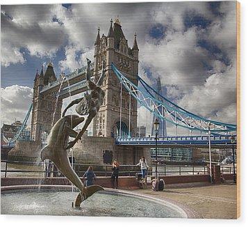 Whimsy At Tower Bridge Wood Print