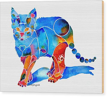 Whimzical Katie Kitten Wood Print by Jo Lynch