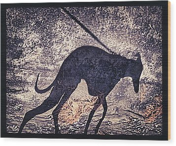 Whippet Silhouette Wood Print by John Clum
