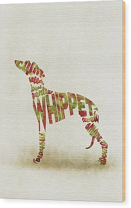 Wood Print featuring the painting Whippet Watercolor Painting / Typographic Art by Inspirowl Design