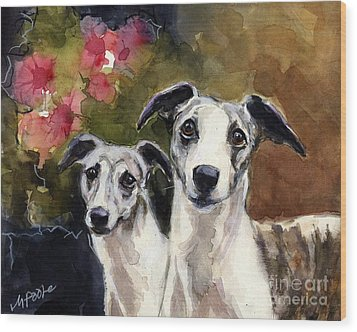 Whippets Wood Print by Molly Poole