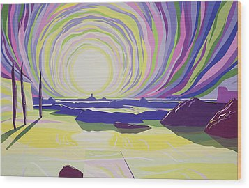 Whirling Sunrise - La Rocque Wood Print by Derek Crow