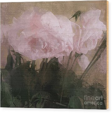 Wood Print featuring the digital art Whisper Of Pink Peonies by Alexis Rotella