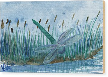 Whispering Cattails Wood Print