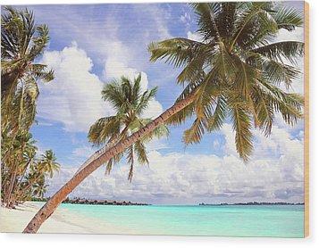 Whispering Palms. Maldives Wood Print by Jenny Rainbow
