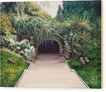 Wood Print featuring the painting Whispering Tunnel by Elizabeth Robinette Tyndall