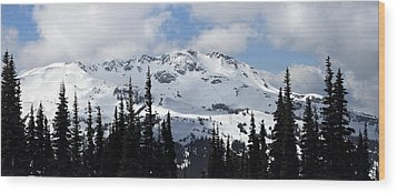 Whistler Mountain Peak View From Blackcomb Wood Print by Pierre Leclerc Photography