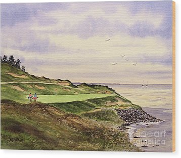 Wood Print featuring the painting Whistling Straits Golf Course Hole 7 by Bill Holkham