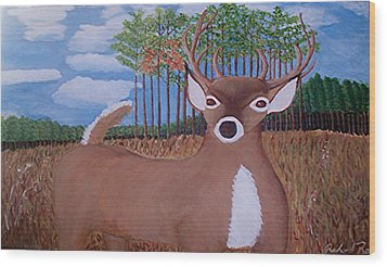 Whit Tall Buck Wood Print by  Richard  Rollings