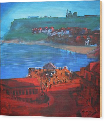 Whitby Bandstand And Smokehouses Wood Print by Neil McBride