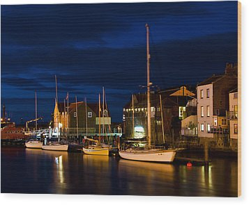 Whitby Harbour Wood Print by Svetlana Sewell