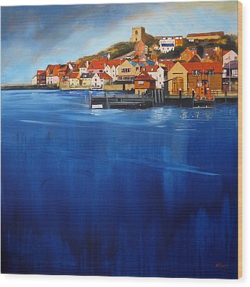 Whitby High Tide Wood Print by Neil McBride