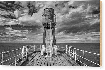 Whitby Pier Wood Print by Gillian Dernie