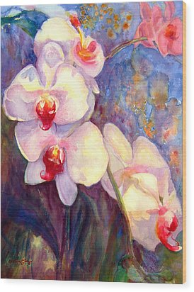 White And Fuchsia Orchids Wood Print by Estela Robles