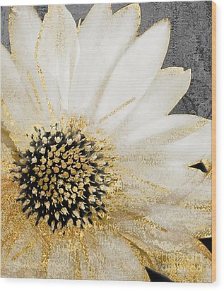 White And Gold Daisy Wood Print by Mindy Sommers