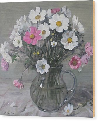 White And Pink Cosmos Bouquet In Water Pitcher No. 2 Wood Print
