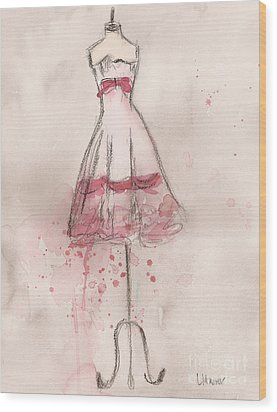 White And Pink Party Dress Wood Print by Lauren Maurer