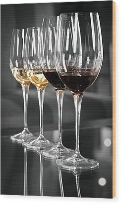 White And Red Wine Glasses Wood Print by Edward Duckitt