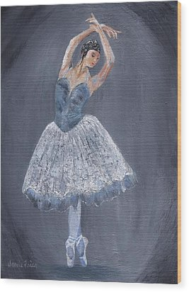 Wood Print featuring the painting White Ballerina by Jamie Frier