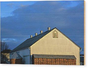 White Barn At Golden Hour Wood Print