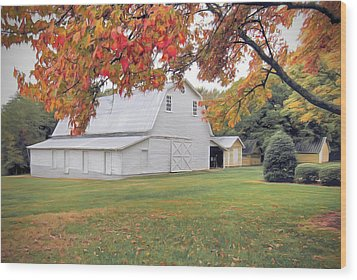 White Barn In Autumn Wood Print by Marion Johnson