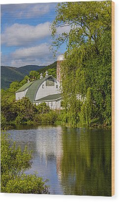 Wood Print featuring the photograph White Barn Reflection In Pond by Paula Porterfield-Izzo