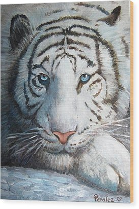 Wood Print featuring the painting White Bengal Tiger by Noe Peralez