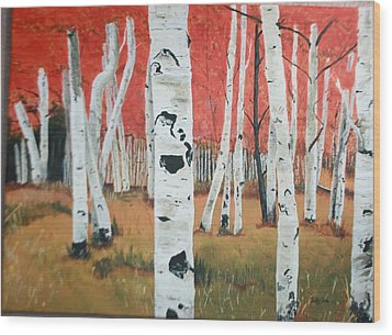 Wood Print featuring the painting White Birches by Betty-Anne McDonald