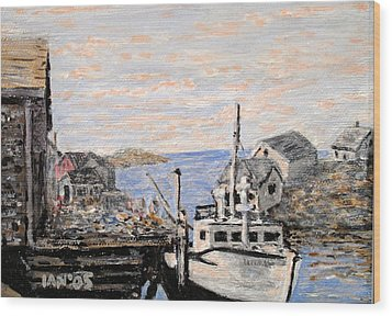 Wood Print featuring the painting White Boat In Peggys Cove Nova Scotia by Ian  MacDonald