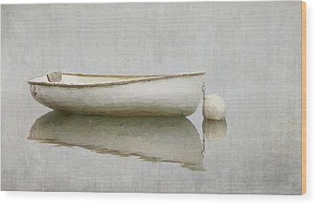 White Boat Wood Print