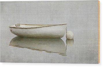 White Boat Wood Print