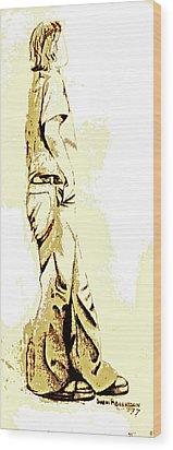 White Boy Standing On Table Wood Print by Sheri Buchheit