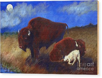 White Buffalo Calf Wood Print by Doris Blessington