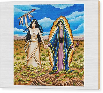 White Buffalo Woman And Guadalupe Wood Print by James Roderick