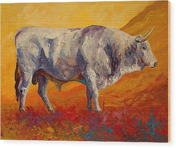 White Bull Wood Print by Marion Rose