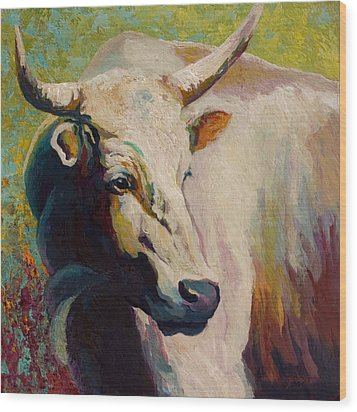 White Bull Portrait Wood Print by Marion Rose