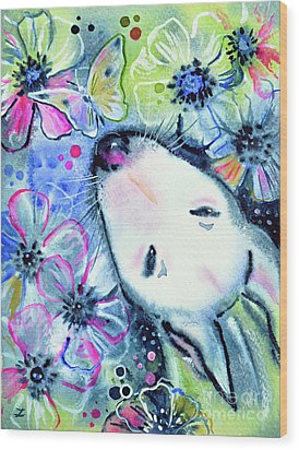 Wood Print featuring the painting White Bull Terrier And Butterfly by Zaira Dzhaubaeva