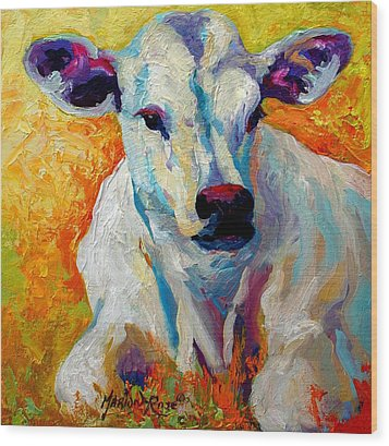 White Calf Wood Print by Marion Rose