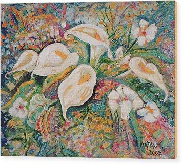 White Callas Wood Print by John Keaton