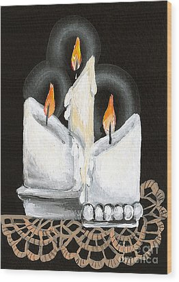 White Candle Trio Wood Print by Elaine Hodges