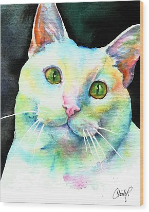 Wood Print featuring the painting White Cat by Christy Freeman