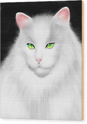 White Cat Wood Print by Salman Ravish