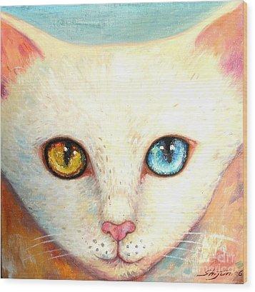 White Cat Wood Print by Shijun Munns