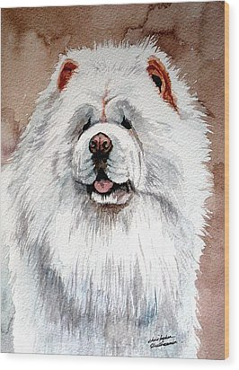 White Chow Chow Wood Print by Christopher Shellhammer