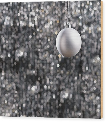 Wood Print featuring the photograph White Christmas Bauble  by Ulrich Schade