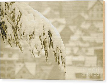 Wood Print featuring the photograph White Christmas - Winter In Switzerland by Susanne Van Hulst