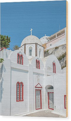 Wood Print featuring the photograph White Church At Fira by Antony McAulay