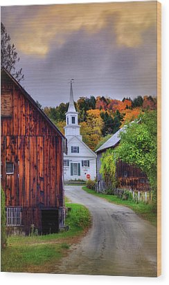 Wood Print featuring the photograph White Church In Autumn - Waits River Vermont by Joann Vitali