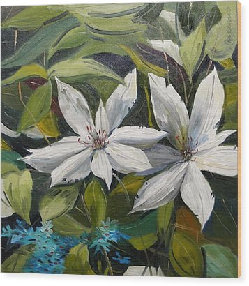 Wood Print featuring the painting White Clematis by John Williams